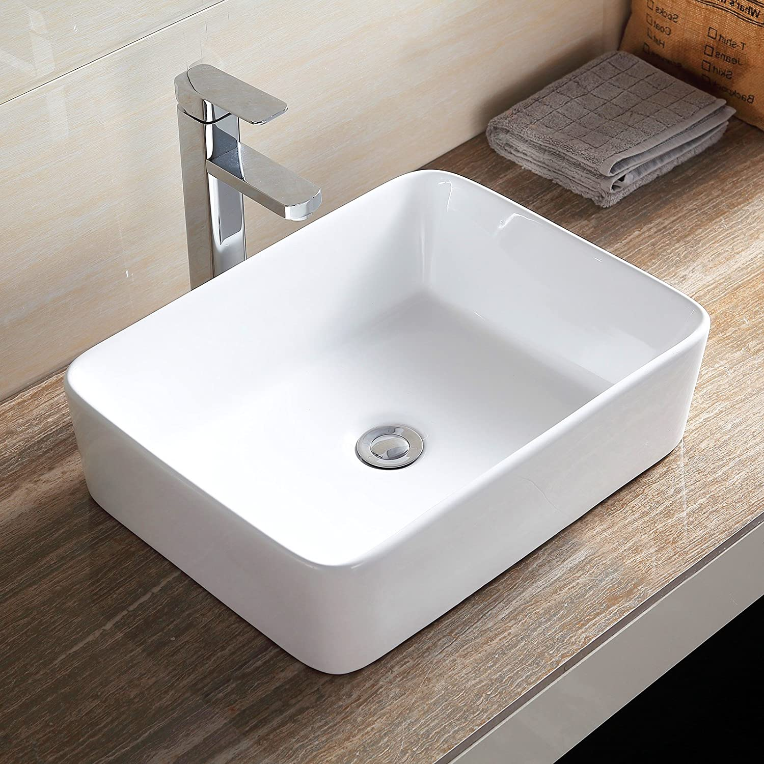 Mecor Ceramic Bathroom Vessel Sink Porcelain Bowl Vanity Basin w Pop Up Drain