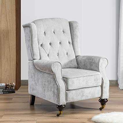 Cool Furgle Wing Reclining Chair Push Back Recliner Chair Adjustable Highback Sofa Armchair Seat For Living Room Lounge Bedroom Light Grey Machost Co Dining Chair Design Ideas Machostcouk