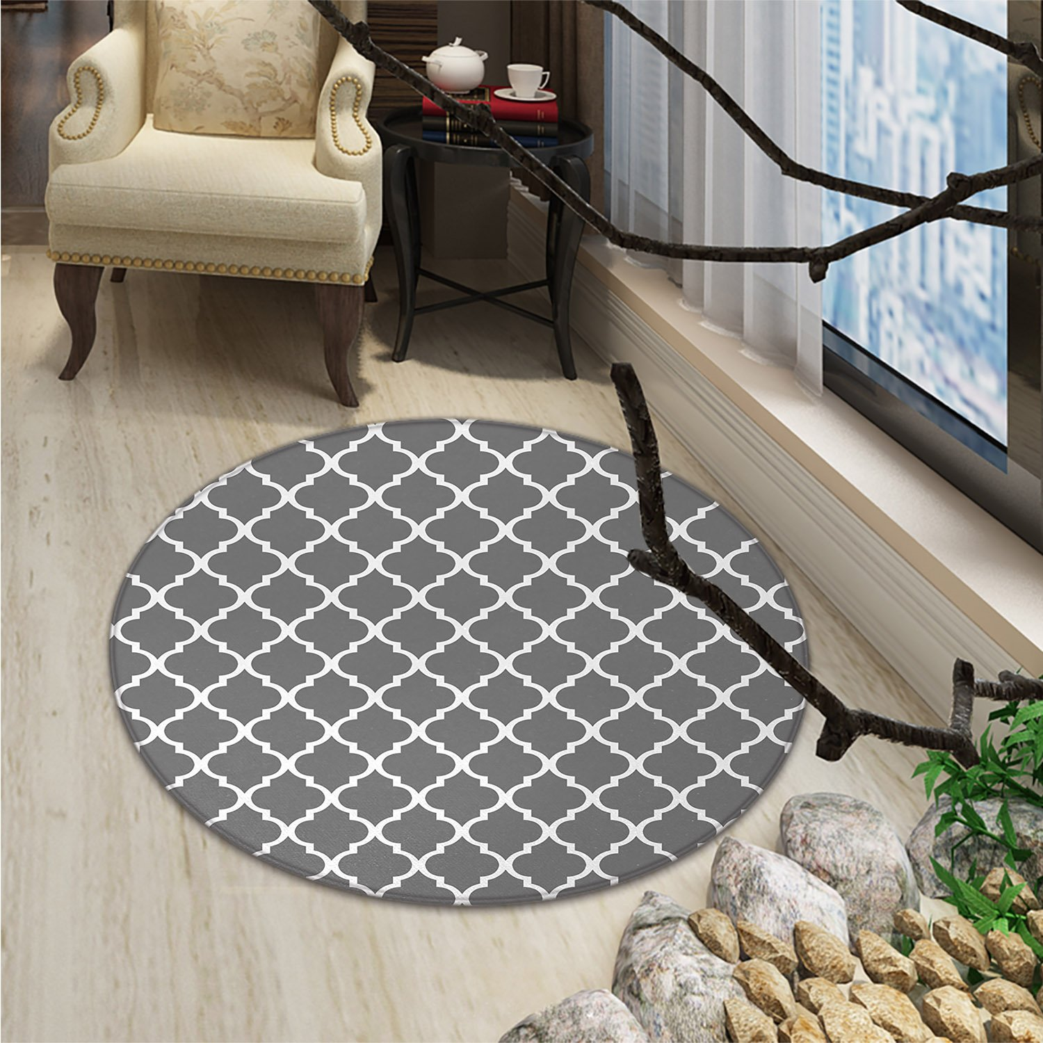 Grey Round Area Rug Quatrefoil Pattern Barbed Design Geometric Leaf Print Lattice Country Life InspiredOriental Floor and Carpets Gray White
