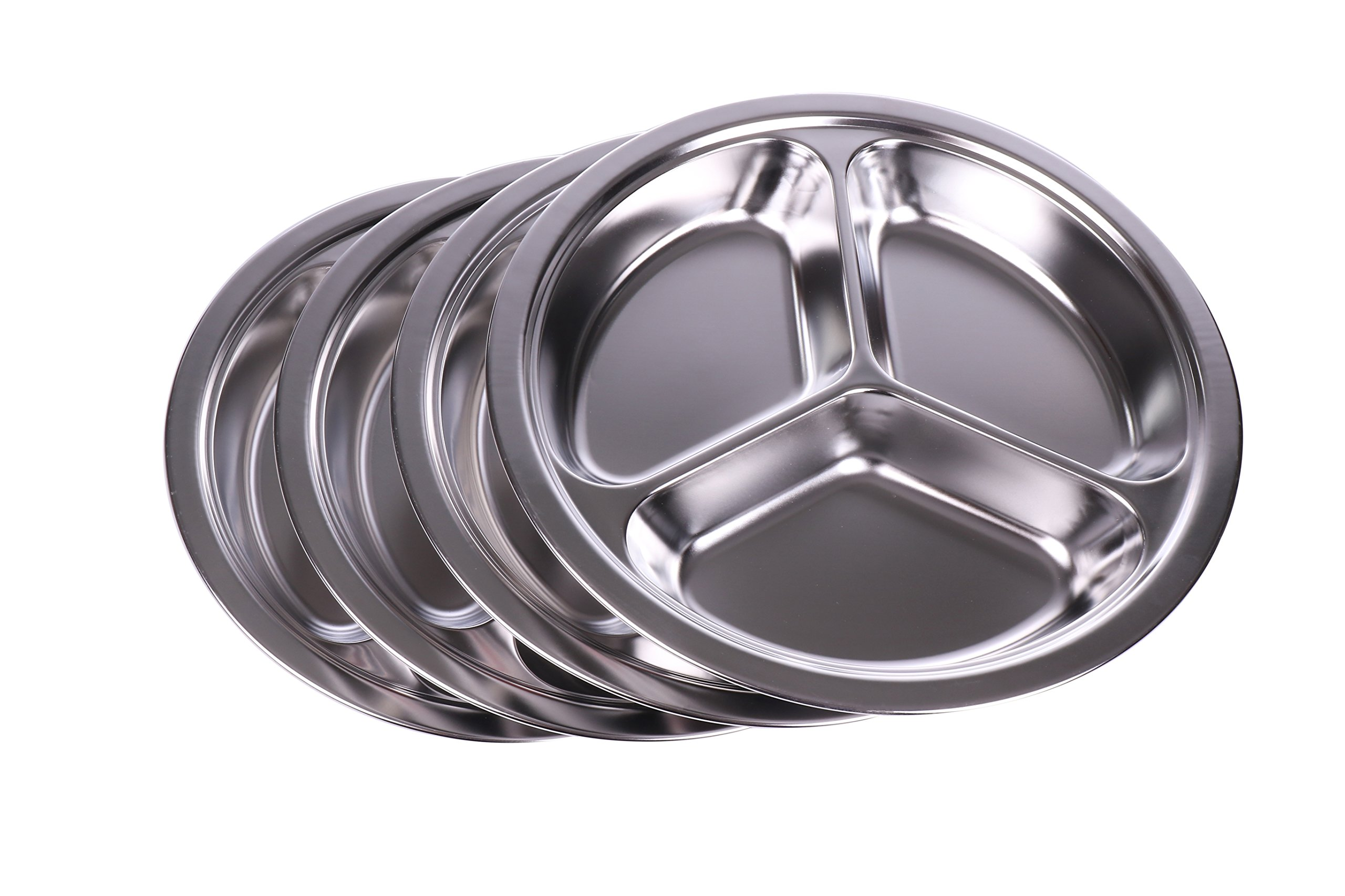Stainless Steel Sectioned Dinner Plates (Set of 4) - 304 SS, 1 inch deep, 10 inches With 3 Compartments - Great for Kids, Picky Eaters, Campers, and for Portion Control