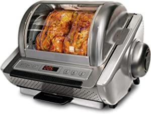 Ronco Showtime EZ-Store Large Capacity Rotisserie & BBQ Oven, Digital Controls, Compact Storage, Perfect Preset Rotation Speed, Self-Basting, Auto Shutoff, Includes Multipurpose Basket
