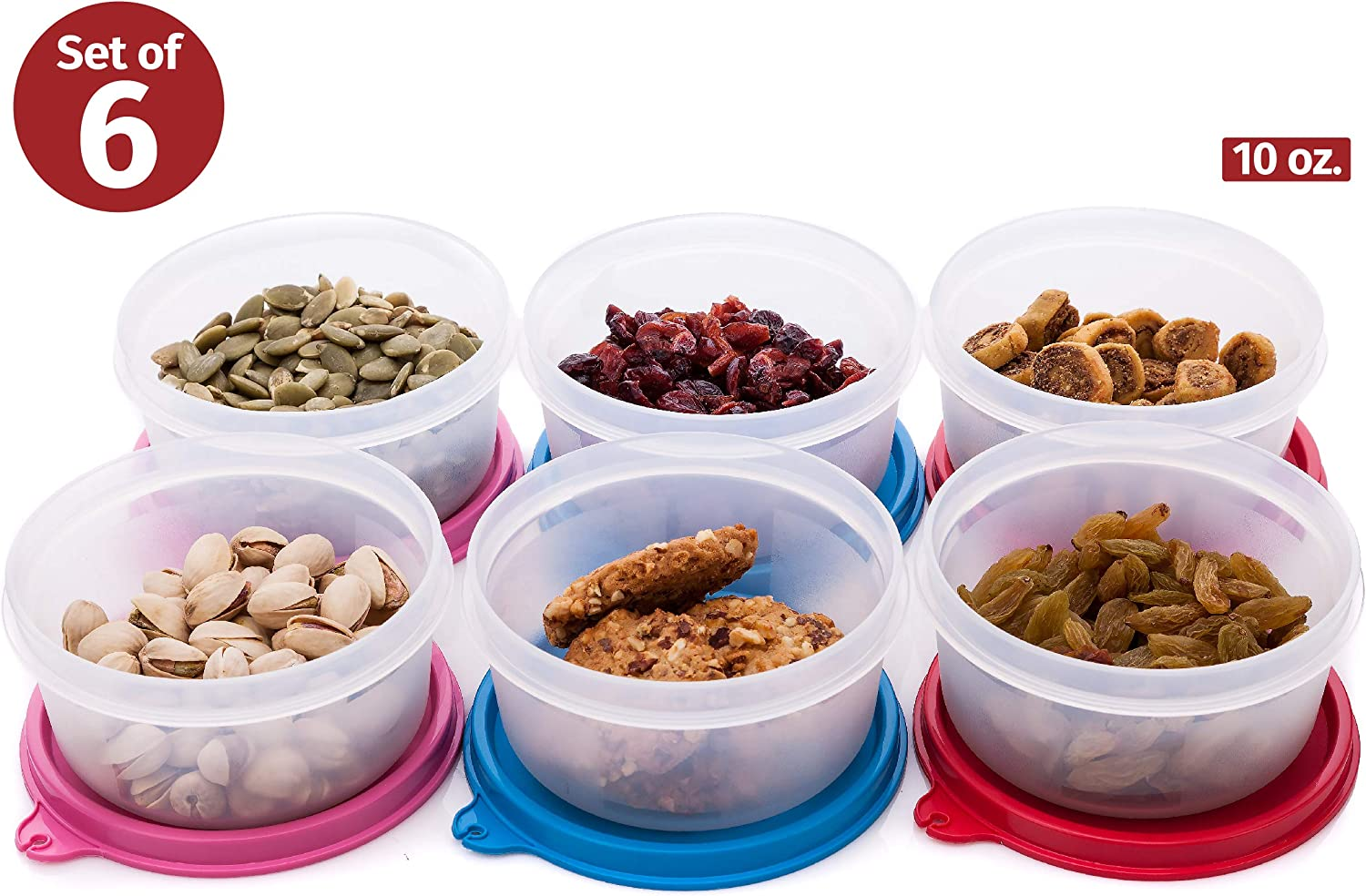 Reusable Plastic Food Storage Containers – Stackable Airtight Food Containers for Snacks, Picnics, Food Prep, Picnics and more – Set of 6 in Various Sizes – Dishwasher, Microwave and Freezer Safe 10oz