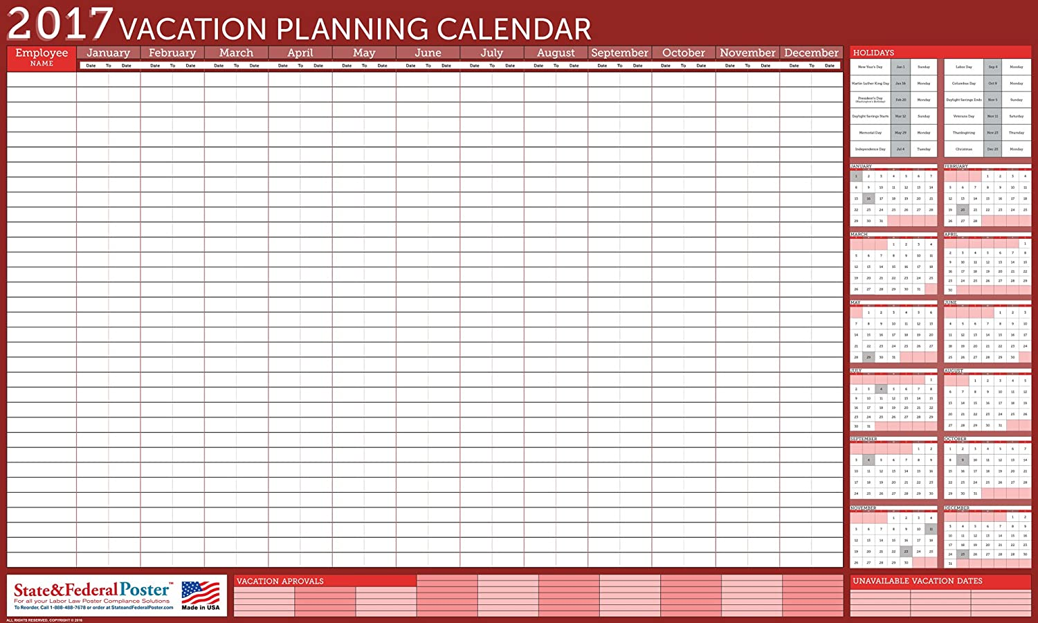 Amazon 2017 Horizontal Vacation Planner Red Laminated Erasable Calendar 24 X 40 Office Products