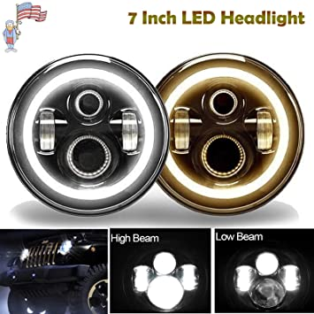 amazon com 7 inch round led headlights halo ring amber angle eyes rh amazon com Chevy Headlight Wiring Diagram Auto Headlight Wiring Diagram