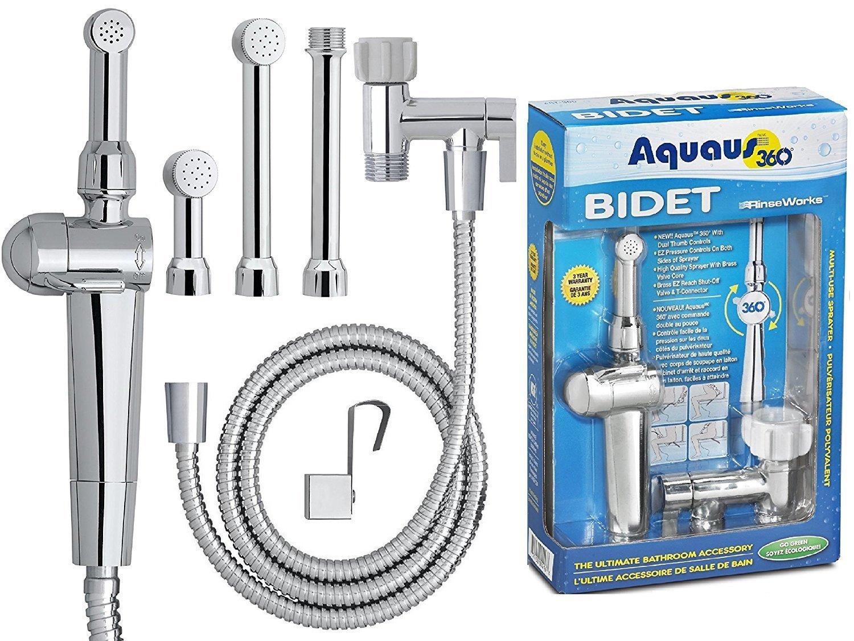 RinseWorks - Aquaus 360 Premium Hand-Held Bidet - With ABS Sprayer - NSF Certified – 2 Back Flows - 3 Year Warranty – Dual Pressure Controls - 3 Spray Heads & 5'' Extension (ABS Sprayer) ABT-360