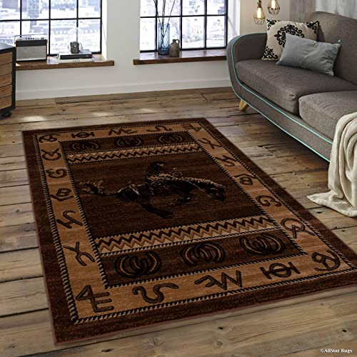 Allstar 8×10 Mocha Cabin Rectangular Accent Rug with Chocolate and Espresso Wildlife Riding Cowboy Design 7 6 x 10 5