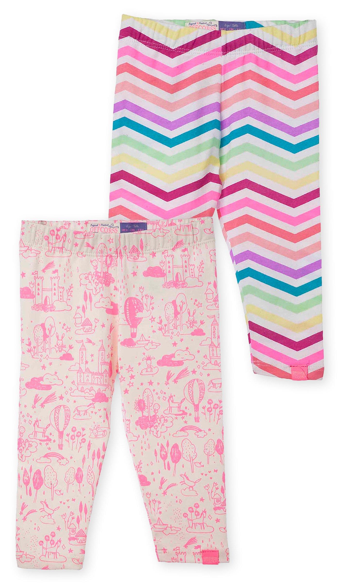 OFFCORSS Baby Girls Newborn Colored Capri Patterned Cotton Leggings Summer Clothes Ropa de Bebe Niña Recien Nacida 2 Pack Set Kit 3/6 Months