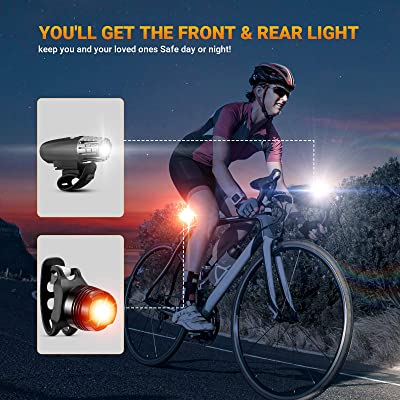 Rechargeable LED Bike Lights MTB Cycle Helmet Cycling Front /& Rear Light Set