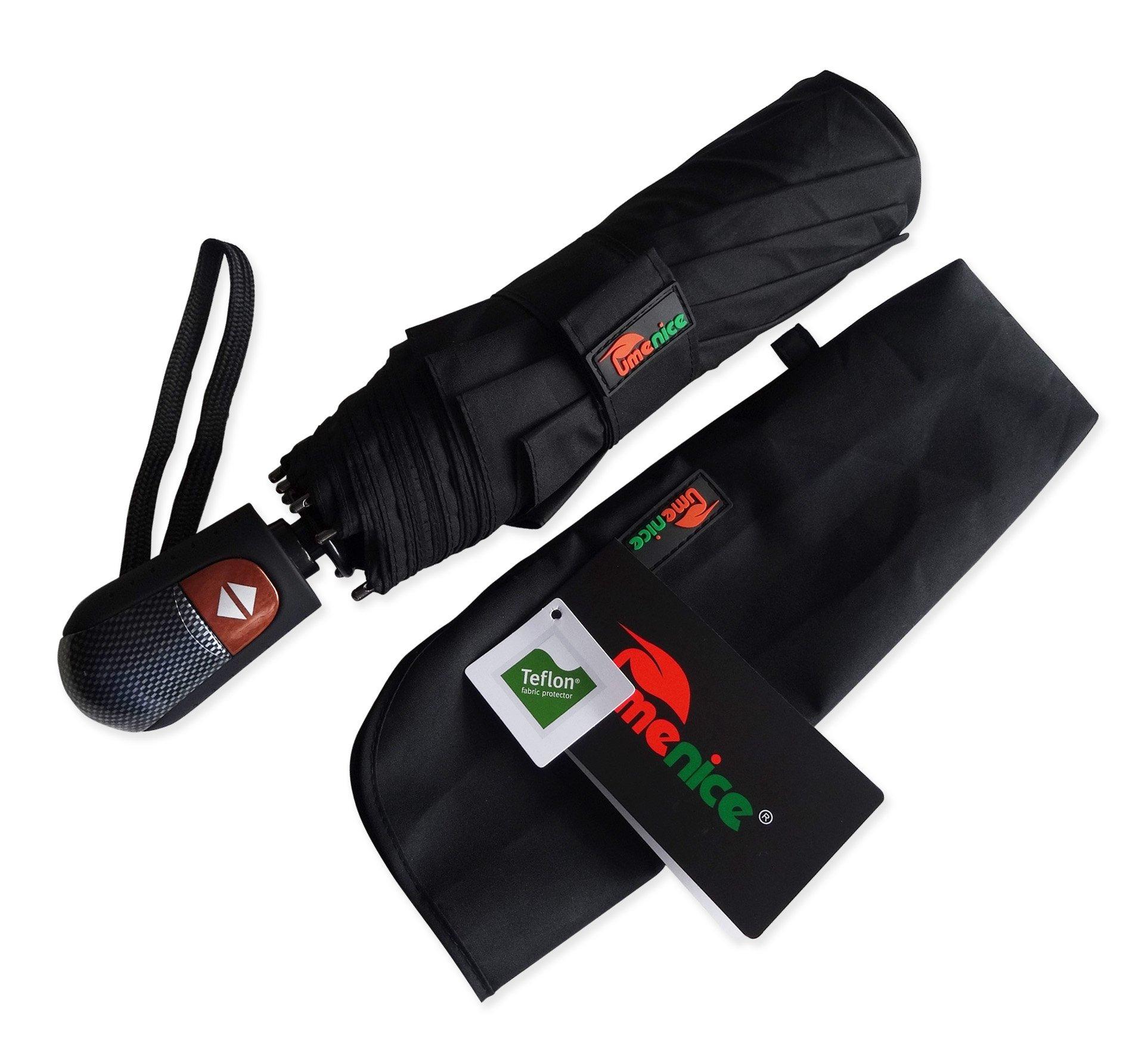Umenice Parapluie haut de gamme Golf Automatique, 9 baleines, Auvent de couleur noire