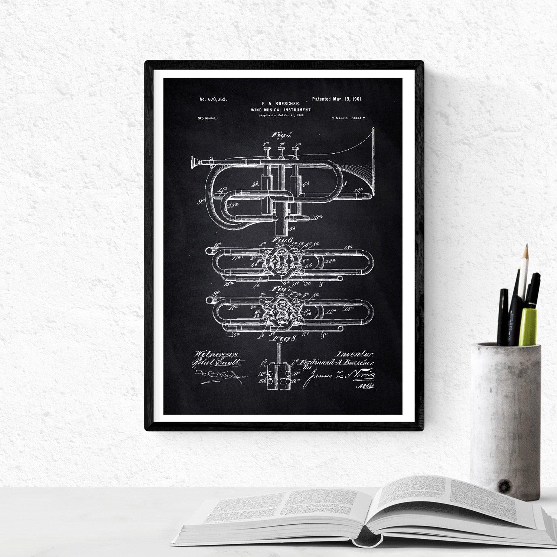 Nacnic Negro - Pack de 4 Láminas con Patentes de Música. Set de Posters con inventos y Patentes Antiguas. Elije el Color Que Más te guste. Impreso en ...