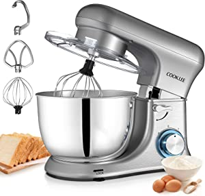 Stand Mixer COOKLEE Kitchen Electric Cake Mixer 6-Speed 4.7Qt. 600W Food Mixer Dough Blender with Dough Hooks,Bowl,Beater, Whisk and Cover & Dishwasher safe