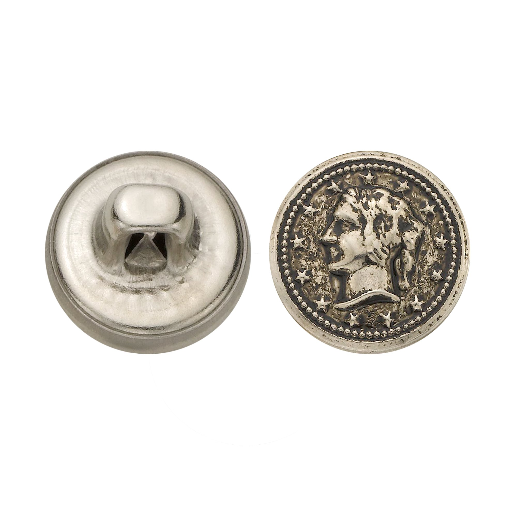 C&C Metal Products 5328 Lady Head Coin Metal Button, Size 20 Ligne, Antique Nickel, 144-Pack