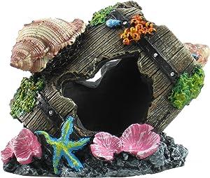 FixtureDisplays Set of 2 Pcs Ancient Barrel Ruins Sea Shell Ornament for Aquarium Fish Tank Decoration 12182 12182!
