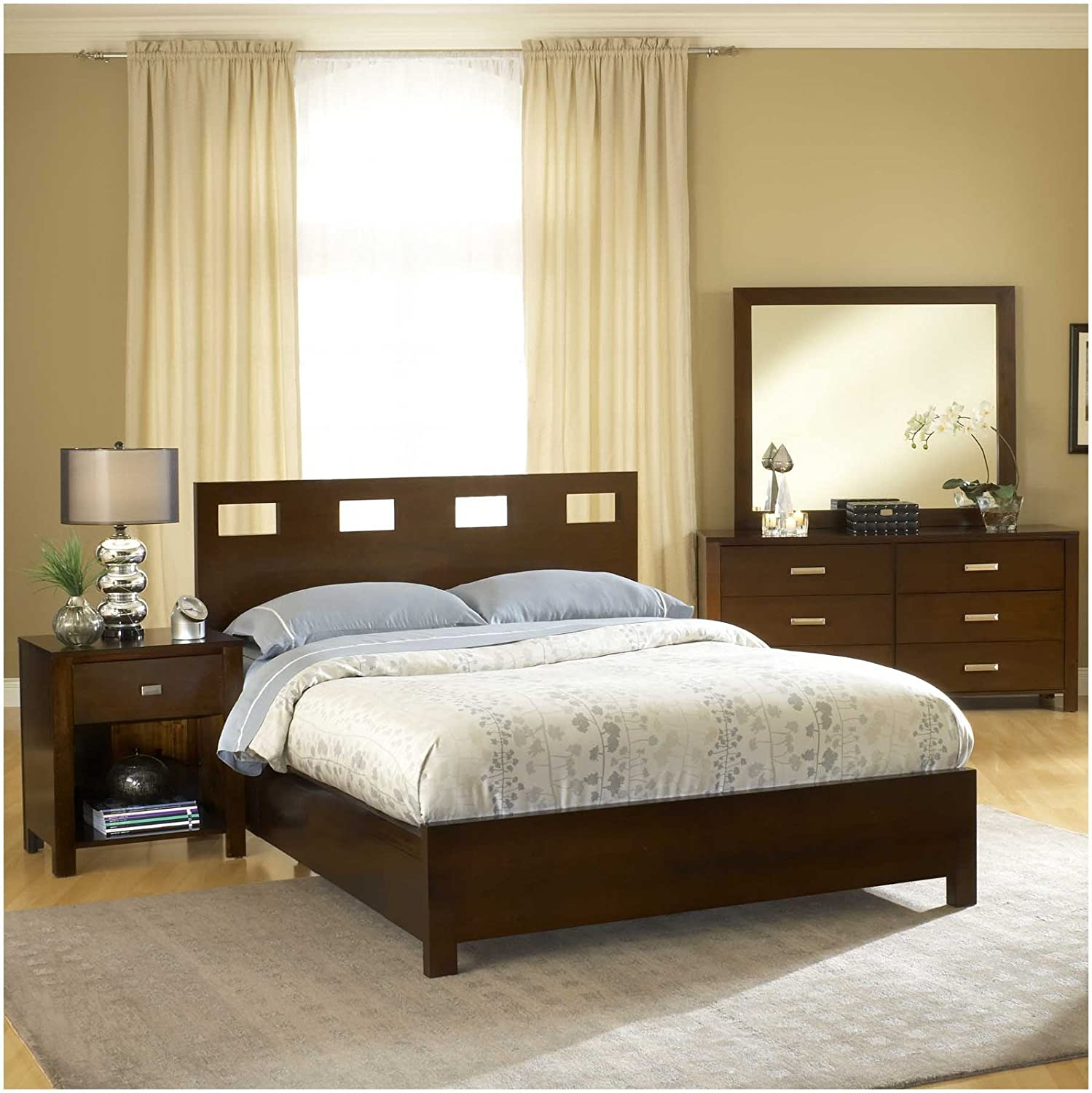 Queen Size Low Bed Part - 48: Amazon.com: Modus Furniture RV26F5 Riva Platform Bed, Queen, Chocolate  Brown: Kitchen U0026 Dining