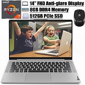 "2020 Flagship Lenovo IdeaPad 5 14 Laptop 14"" FHD Anti-Glare Display AMD 8-Core Ryzen 7 4700U(Beats i7-10510U) 8GB DDR4 512GB PCIe SSD Backlit FP Dolby Win 10 (Platinum Grey) + iCarp Wireless Mouse"