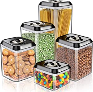 Large Airtight Food Storage Containers 5 Pieces BPA Free Plastic Cereal Containers Storage Set Kitchen & Pantry Organization for Bulk Food, Flour, Sugar and Baking Supplies