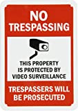 """SmartSign Aluminum Sign, Legend """"No Trespassing - Video Surveillance"""" with Graphic, 10"""" high x 7"""" wide, Black/Red on White"""