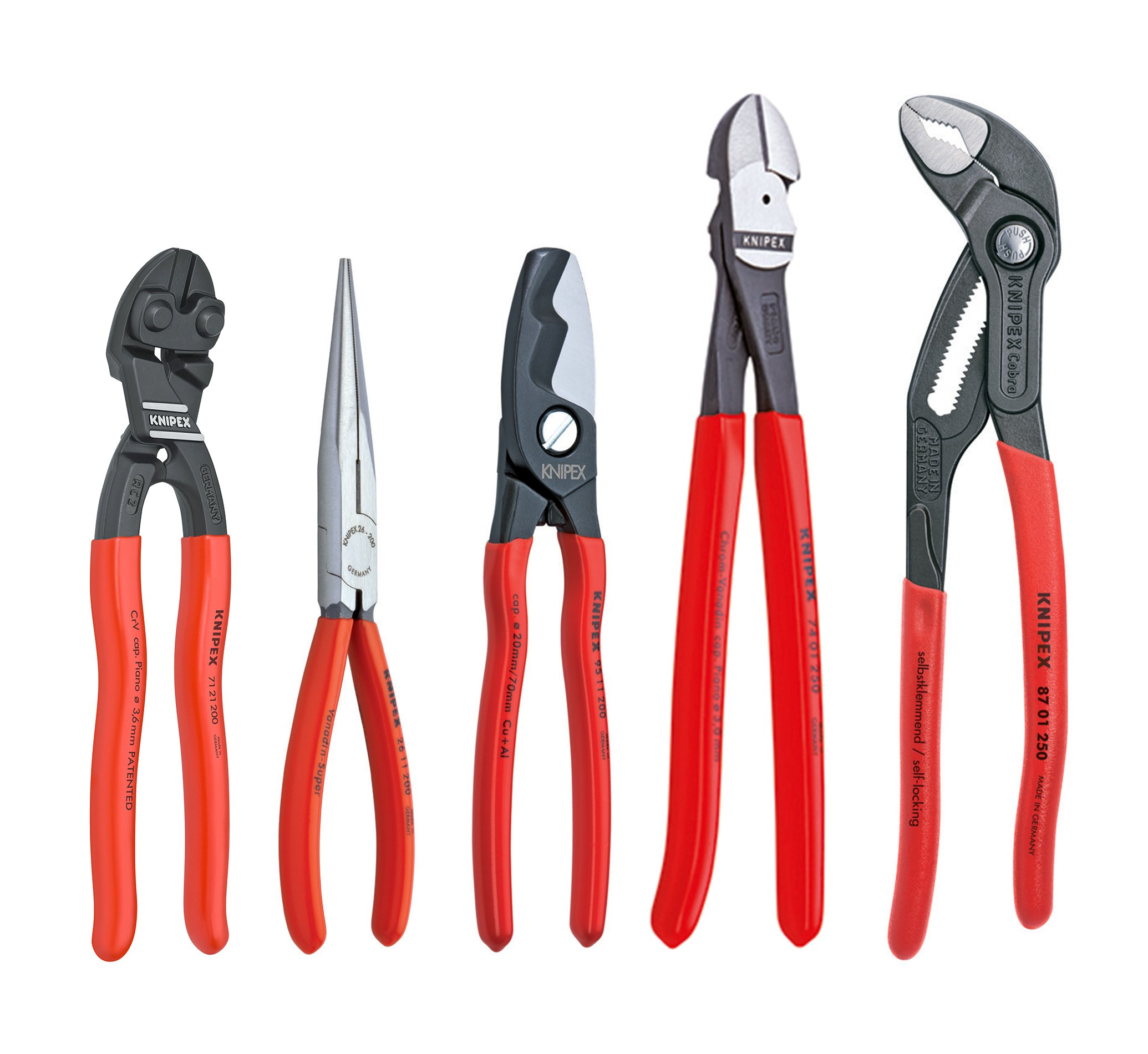 Knipex Tools 9K 00 80 108 US Cobra Cobalt Needle Nose Shears and Cutters Pliers Set (5 Piece)