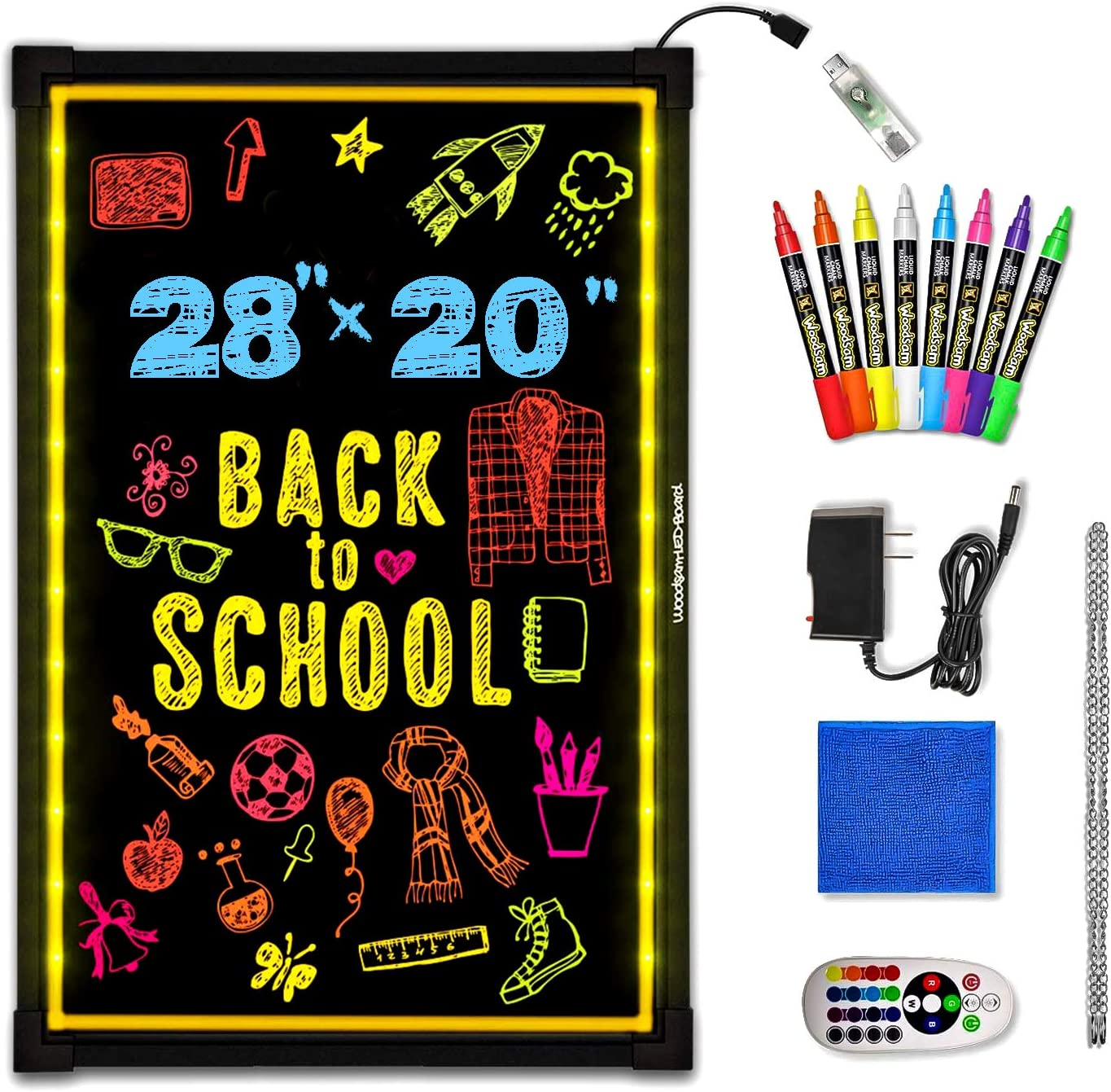"""Woodsam Lighted LED Writing Board - 28"""" X 20"""" Flashing Illuminated Erasable Neon Sign with 8 Colorful Markers - Perfect for Children, School, Home, Office, Business Holiday Celebration Gift"""