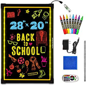 "Woodsam Lighted LED Writing Board - 28"" X 20"" Flashing Illuminated Erasable Neon Sign with 8 Colorful Markers - Perfect for Children, School, Home, Office, Business Holiday Celebration Gift"