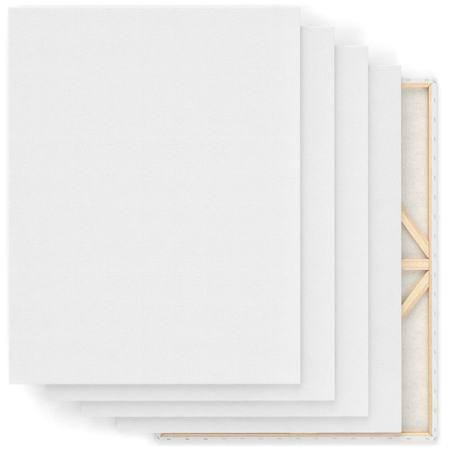"Arteza 30x40"" Stretched White Blank Canvas, Bulk Pack of 5, Primed, 100% Cotton for Painting, Acrylic Pouring, Oil Paint & Wet Art Media, Canvases for Professional Artist, Hobby Painters & Beginner by ARTEZA (Image #5)"