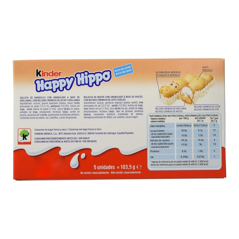Kinder - Happy Hippo - Barritas de Chocolate - 5 unidades x 20.7 g: Amazon.es: Alimentación y bebidas