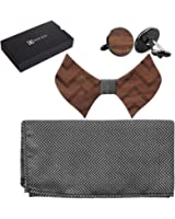 808 Ave. Men's Walnut Wood Bow Tie w/ Matching Pocket Square and Cufflinks Set