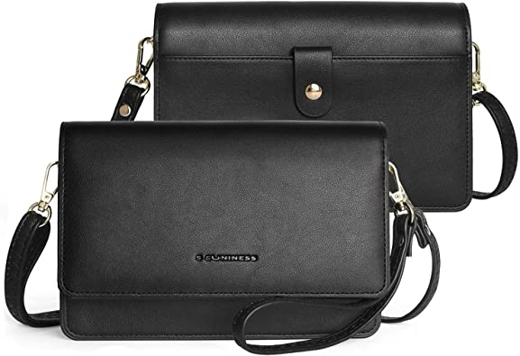 Womens Leather Smartphone Wristlet Crossbody Clutch with RFID Blocking Card Slots