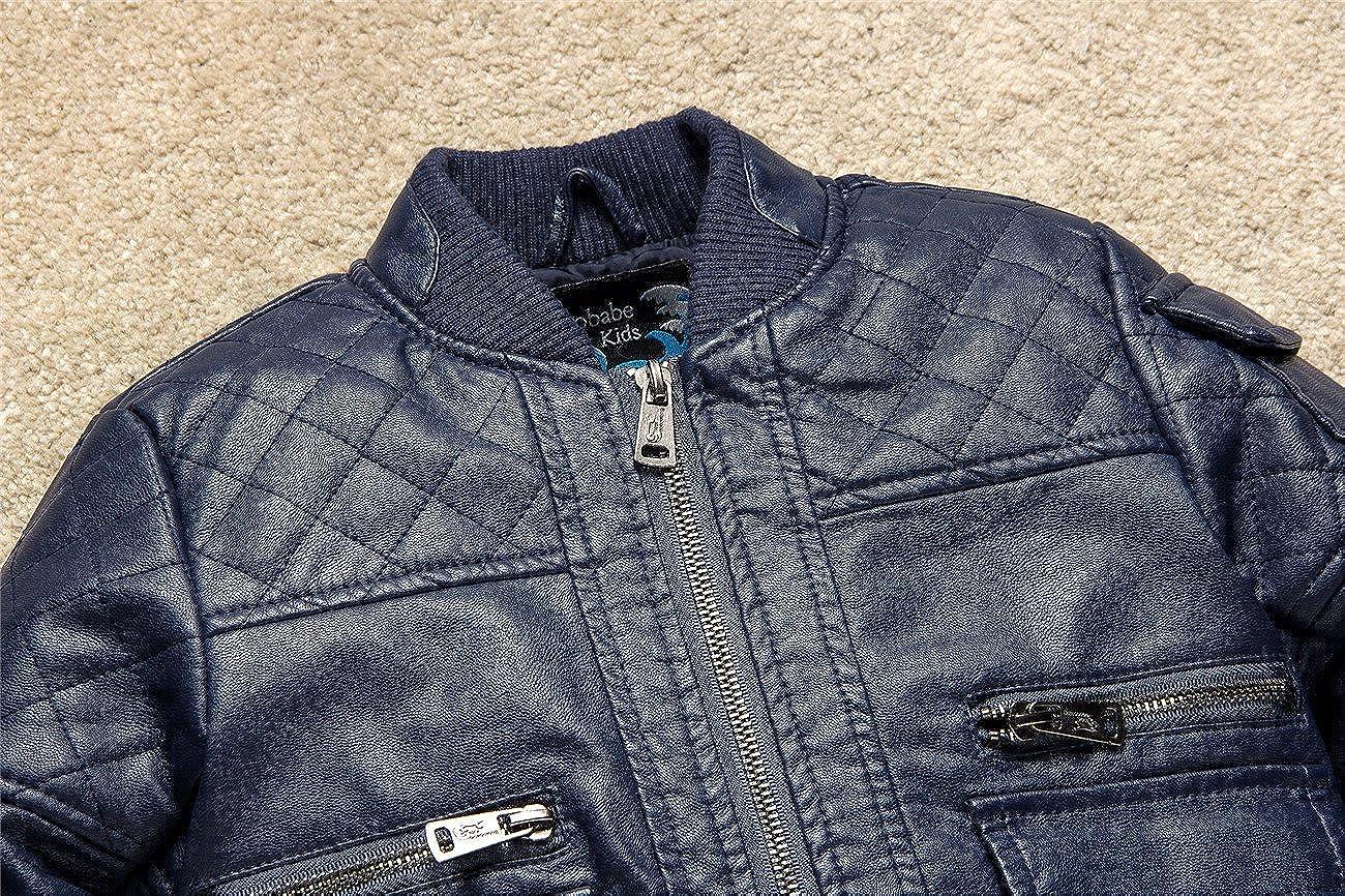 Budermmy Boys Bomber Faux Leather Zipper Biker Jackets