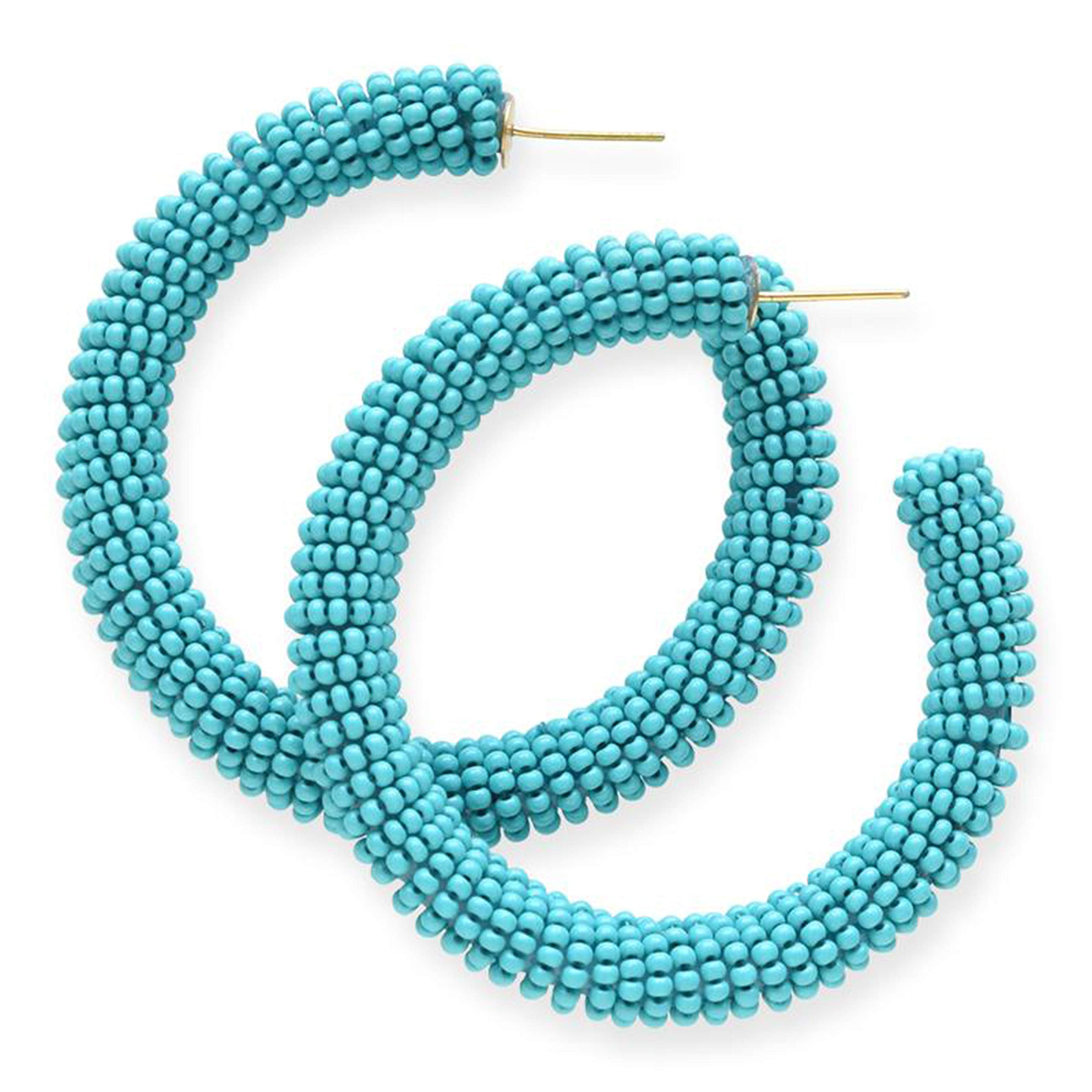 INK+ALLOY Women's Solid Hoop Glass Seed Bead Earrings, Turquoise - 2.5 Inch - Handmade Beaded Boho Style Earrings - In Organza Gift Bag by Ink+Alloy