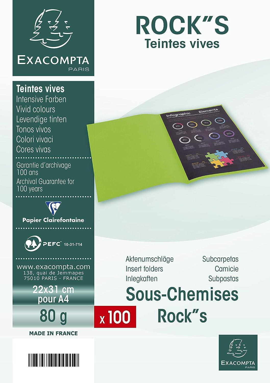 Exacompta 800009E - Lote de 100 Subcarpetas Rock