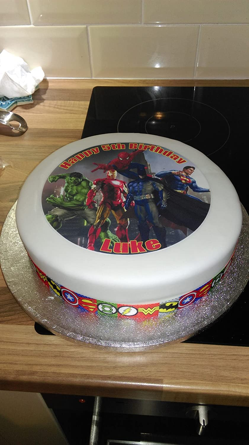 7.5 Superheroes Edible Icing Birthday Cake Topper Superhero