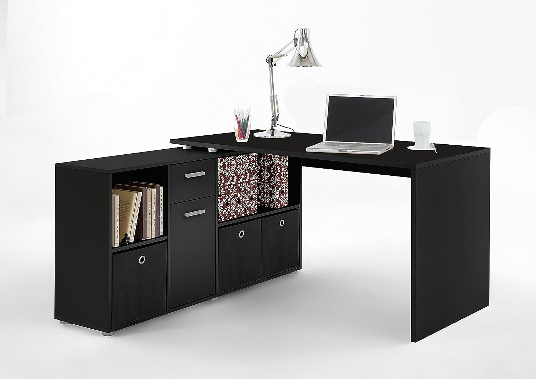 Eckschreibtisch schwarz weiß  FMD Möbel Lex Schreibtisch-Winkelkombination, Holz, schwarz, 136 x ...