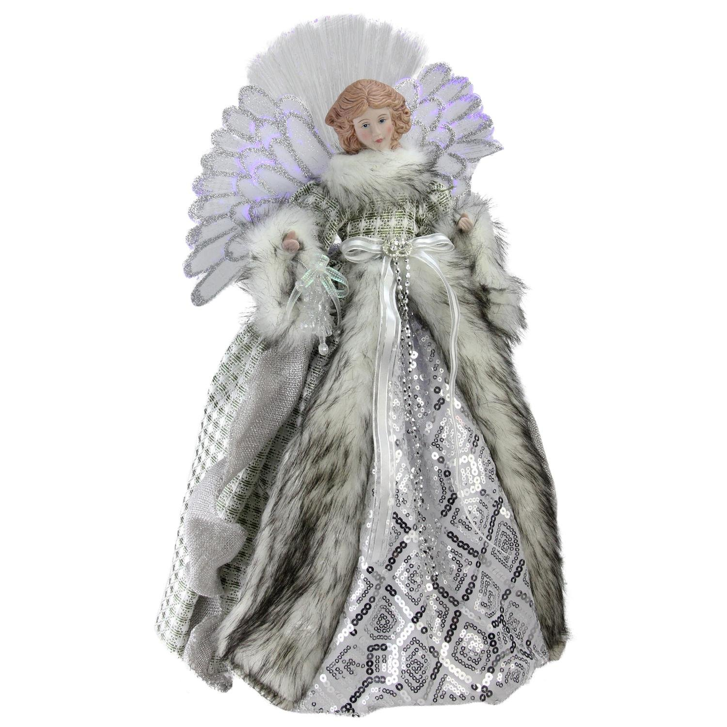 Northlight NL00923 Angel in Gingham Coat Christmas Tree Topper, 16''