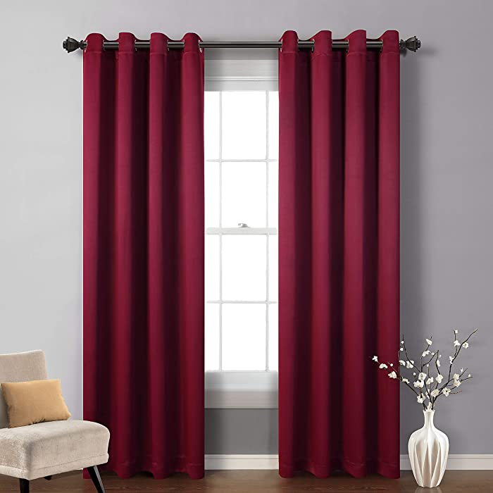 MYSKY HOME Blackout Curtain for Bedroom, Grommet Room Darkening Curtain, Amazing Triple Weave Thermal Insulated Curtain, 1 Curtain Panel ( 52 x 84 Inch, Burgundy )