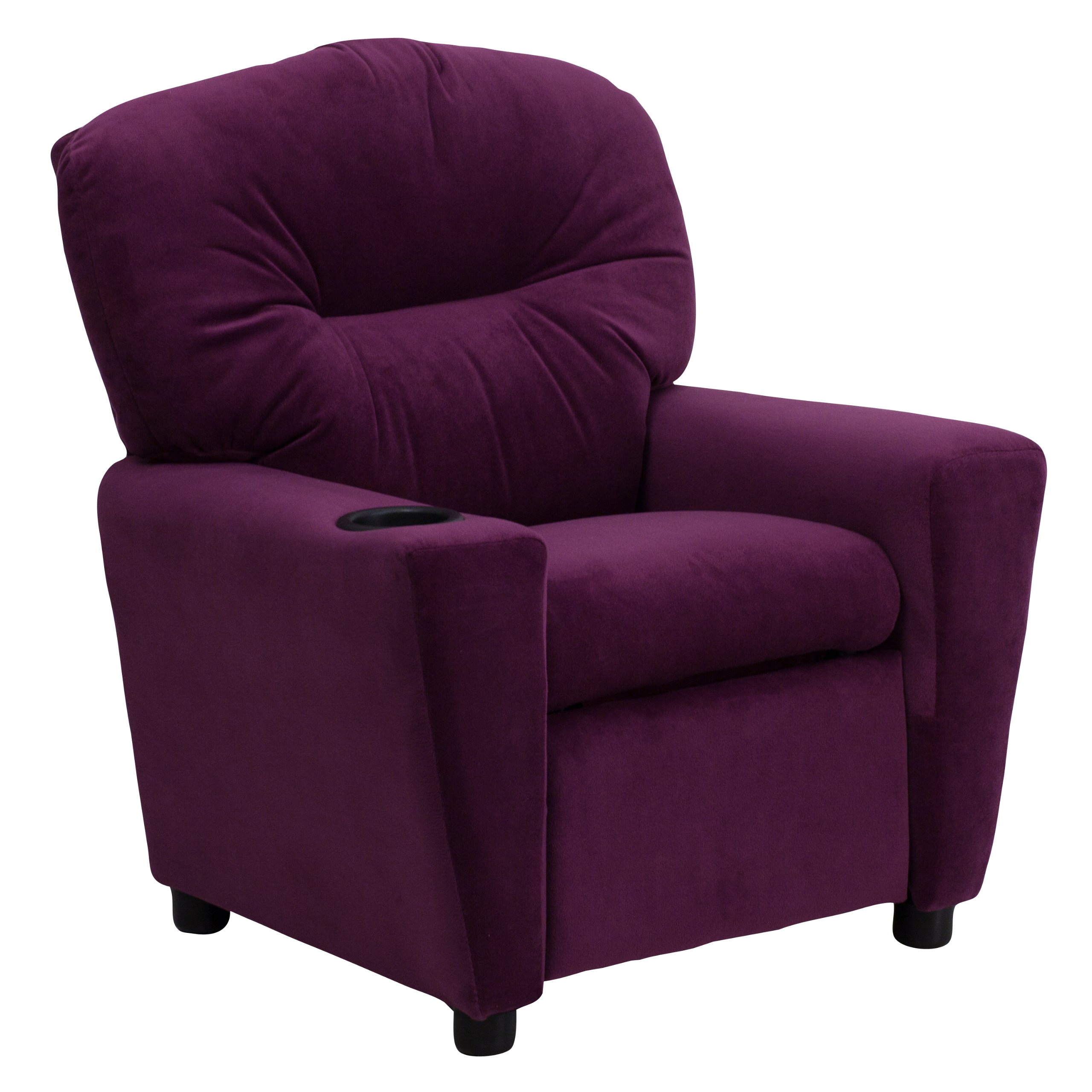 Winston Direct Kids' Series Contemporary Purple Microfiber Recliner with Cup Holder