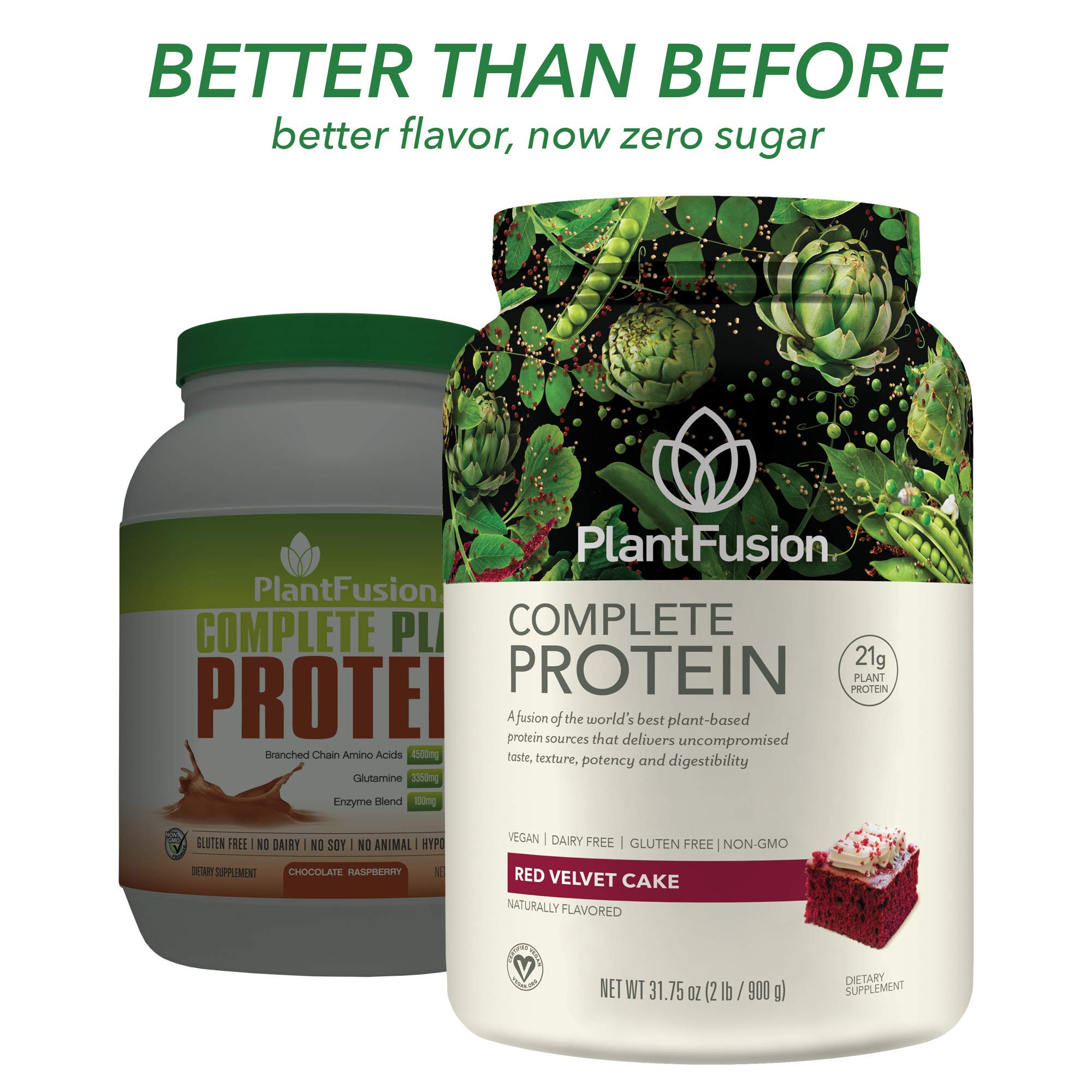 PlantFusion Complete Plant Based Protein Powder, Chocolate Raspberry, 2 Lb Tub, 30 Servings, 1 Count, Gluten Free, Vegan, Non-GMO