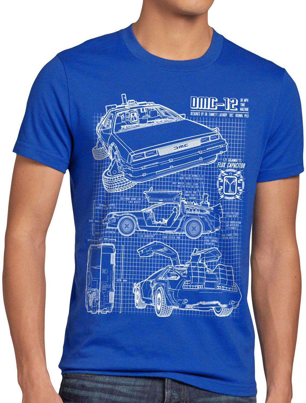 style3 DMC-12 Blaupause T-Shirt Herren Zeitreise 80er McFly ...