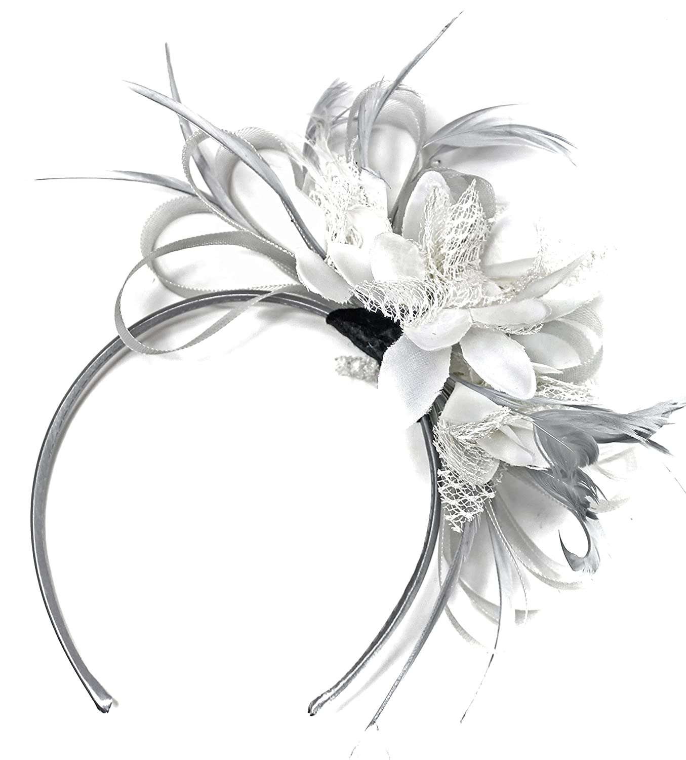 Silver Grey and White Net Hoop Feather Hair Fascinator Headband Wedding  Royal Ascot Races  Amazon.co.uk  Clothing dc75731faeb