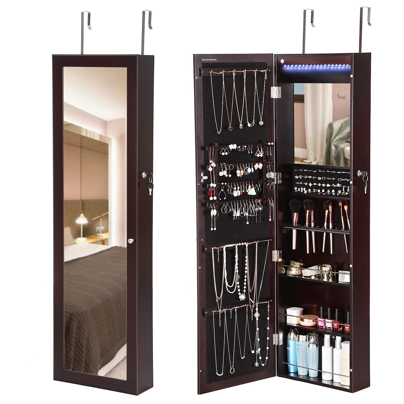 SONGMICS 18 LEDs Mirrored Jewelry Cabinet Lockable Wall Door Mount Makeup Armoire Organizer with 13 Brush Holders and Inside Mirror Brown UJJC85K