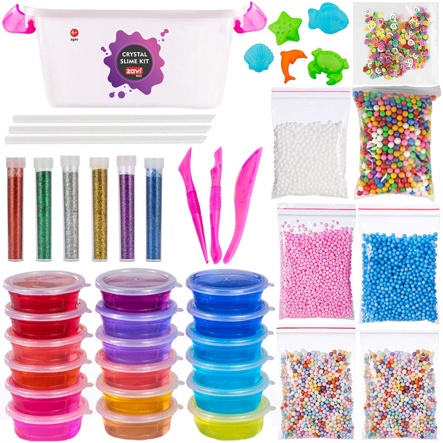 Ultimate Slime Kit For Girls - DIY Slime Making Kits With Everything You Need - Make Your Own Fluffy Slime Supplies For Kids With 18 Colors, Glitter and Foam Balls - Educational Sensory Safe Toy Set by Zavi Toys
