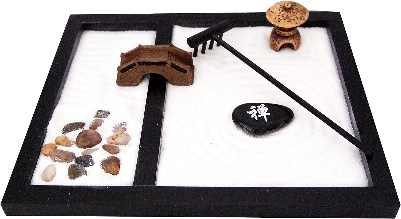 JOICE GIFT Desktop Japanese Zen Garden with Rake Stones Bridge Lantern Decor, ZG02