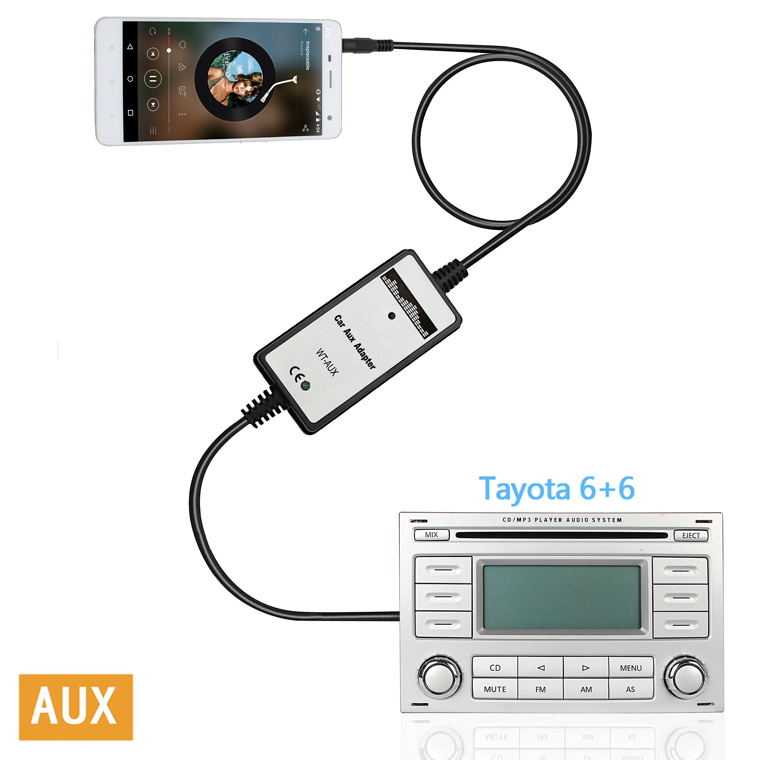 Moonet 3.5mm Audio Input Auxillary Aux Adapter Stereo Radio For 2003-UP Toyota 4Runner Avalon Camry Celica Corolla Yaris FJ Cruiser Highlander Landcruiser Matrix MR2 Tacoma Tundra Venza Vitz