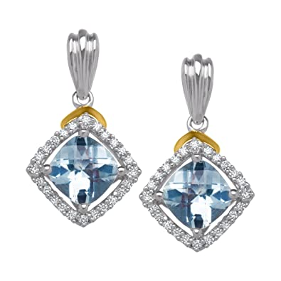 8c5bc86f7 Image Unavailable. Image not available for. Color: 1 3/4 ct Aquamarine & 1/8  ct Diamond Drop Earrings in Sterling