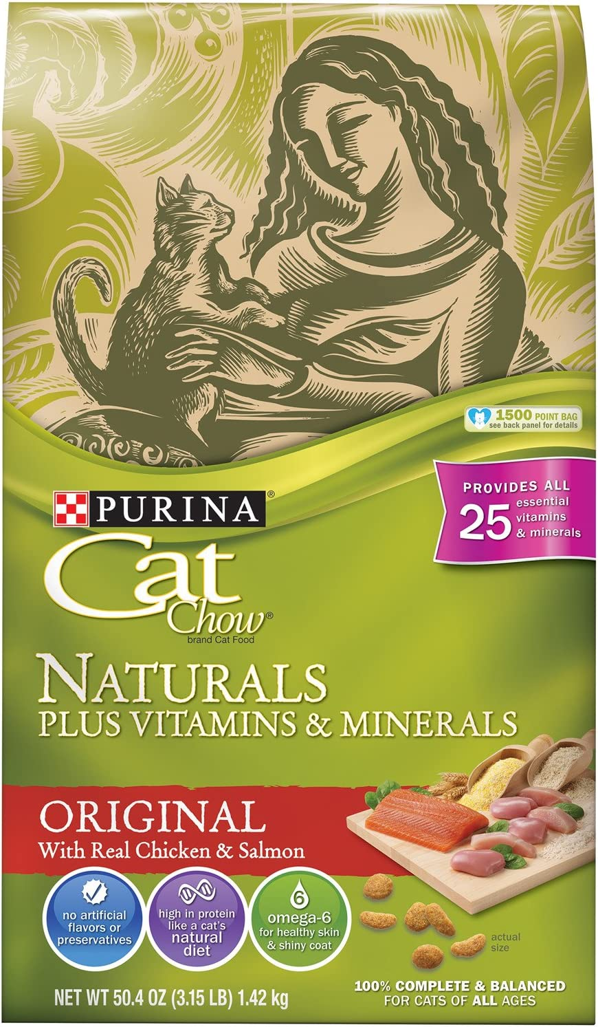 Purina Cat Chow Dry Cat Food, Naturals, 3.15 Pound Bag, Pack Of 3
