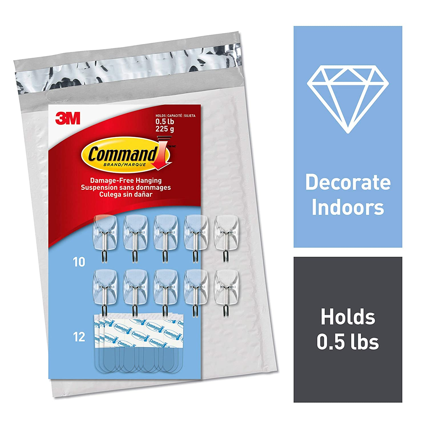 Command Clear Small Wire Hooks, 10 Hooks, 12 Strips (CL067-10NA) - Easy to Open Packaging