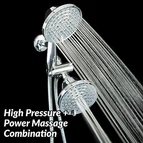 Genial Handheld U0026 Fixed Chrome Shower Head Combo | Dual Showerhead System With 6  Pressure Settings |