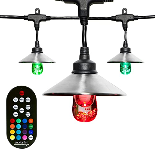 Enbrighten Classic Seasons LED Warm White Color Changing Caf String Lights with Stainless Steel Lens Shade, Black, 24ft, 12 Lifetime Bulbs, Wireless, Weatherproof, Indoor Outdoor, 43391