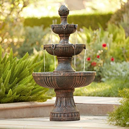 Cascading Water Fountains Outdoor.John Timberland Ravenna Italian Outdoor Floor Water Fountain 43 High 3 Tiered Floor Cascading For Yard Garden Lawn
