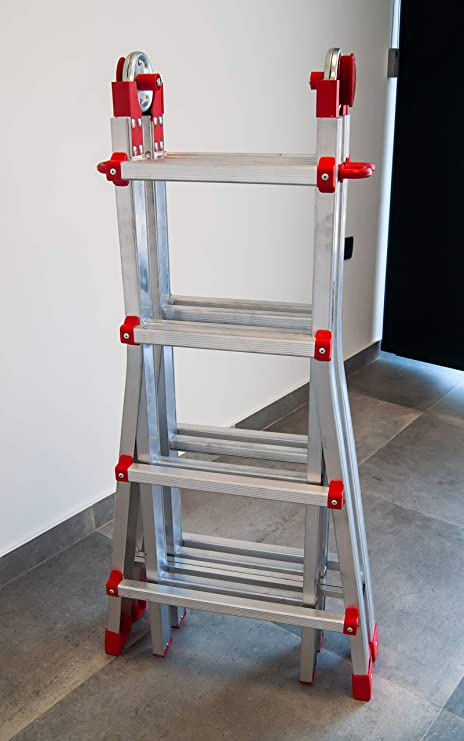 FARAONE 1 Escalera Telescópica Multiusos de 8+8 Peldaños, Metálico ...